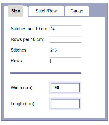 Knitting Stitches To Inches Calculator : Gauge Calculator Online Documentation